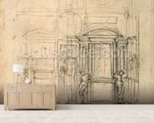 W.26r Design for the Medici Chapel in the church of San Lorenzo, Florence (charcoal) wall mural living room preview