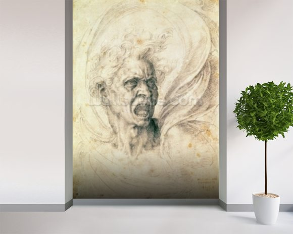 Study of a man shouting (charcoal on paper) wall mural room setting