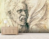 Study of a man shouting (charcoal on paper) wall mural living room preview