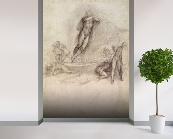 Study for an Ascension (pencil on paper) wallpaper mural room setting