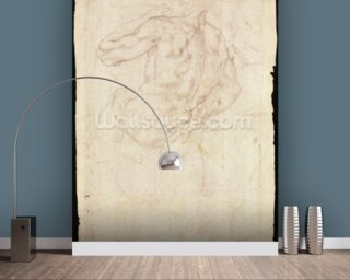 Drawing of a male standing figure (chalk on paper) mural wallpaper