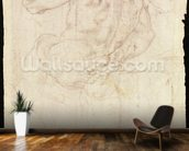 Drawing of a male standing figure (chalk on paper) mural wallpaper kitchen preview