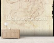 Drawing of a male standing figure (chalk on paper) mural wallpaper living room preview