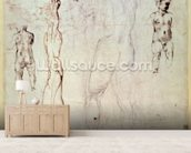 Anatomical drawings with accompanying notes (red chalk) wallpaper mural living room preview