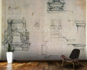 Inv. 1859 6-25-545. R. (W. 25) Designs for tombs (red chalk) wallpaper mural kitchen preview