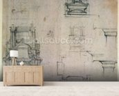 Inv. 1859 6-25-545. R. (W. 25) Designs for tombs (red chalk) wallpaper mural living room preview