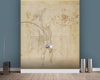 Male group and seated figure with child (pen & ink, charcoal) wallpaper mural