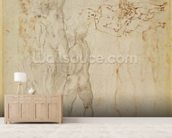 Male group and seated figure with child (pen & ink, charcoal) wallpaper mural living room preview