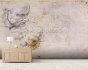 W.60 Sketch of a male head, in two positions (pencil on paper) wall mural living room preview