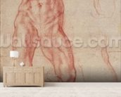 W.13r Study of a male nude, stretching upwards (chalk on paper) mural wallpaper living room preview
