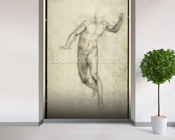 Study for The Last Judgement (W.54 recto) (pencil on paper) wallpaper mural room setting
