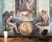 Sistine Chapel Ceiling: Ignudi (pre restoration) wall mural kitchen preview