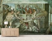 Sistine Chapel Ceiling: Noah After the Flood (pre restoration) mural wallpaper living room preview