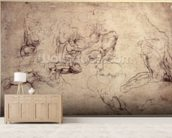 W.61v Male figure studies (pencil on paper) wall mural living room preview
