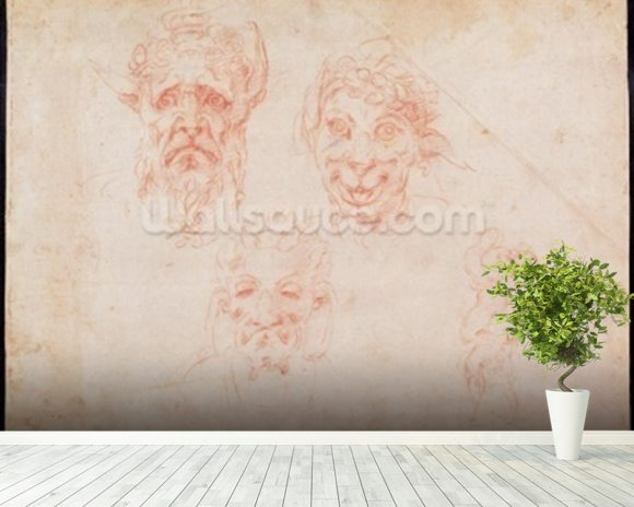 W.33 Sketches of satyrs faces (red chalk on paper) wallpaper mural room setting