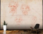 W.33 Sketches of satyrs faces (red chalk on paper) wallpaper mural kitchen preview