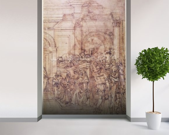 W.29 Sketch of a crowd for a classical scene mural wallpaper room setting