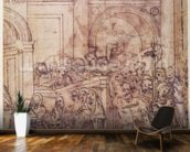 W.29 Sketch of a crowd for a classical scene mural wallpaper kitchen preview