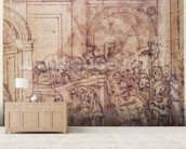 W.29 Sketch of a crowd for a classical scene mural wallpaper living room preview