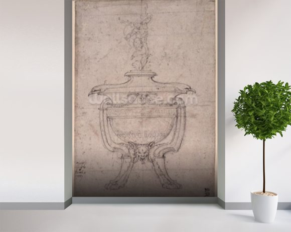 Study of a decorative urn (pen and ink on paper) wallpaper mural room setting