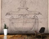 Study of a decorative urn (pen and ink on paper) wallpaper mural kitchen preview