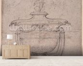 Study of a decorative urn (pen and ink on paper) wallpaper mural living room preview