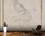 Inv. 5211-75 Fawkener Recto (W.92) Kneeling man (drawing) wallpaper mural kitchen preview