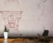 Studies for a Capital (brown ink) mural wallpaper kitchen preview