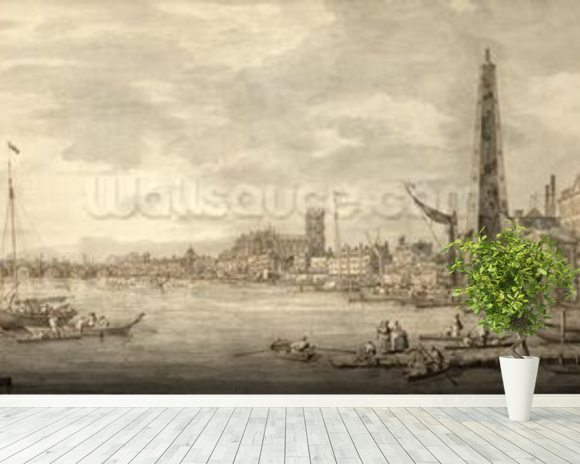 The Thames Looking towards Westminster from near York Water Gate (pen and brown ink with grey wash on paper) wall mural room setting