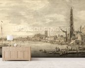 The Thames Looking towards Westminster from near York Water Gate (pen and brown ink with grey wash on paper) wall mural living room preview