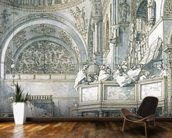 The Choir Singing in St. Marks Basilica, Venice, 1766 (pen, ink and wash on paper) wallpaper mural kitchen preview