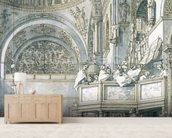 The Choir Singing in St. Marks Basilica, Venice, 1766 (pen, ink and wash on paper) wallpaper mural living room preview