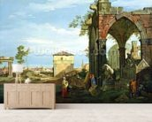 Capriccio with Motifs from Padua, c.1756 (oil on canvas) (see 153617 and 153618 for details) mural wallpaper living room preview