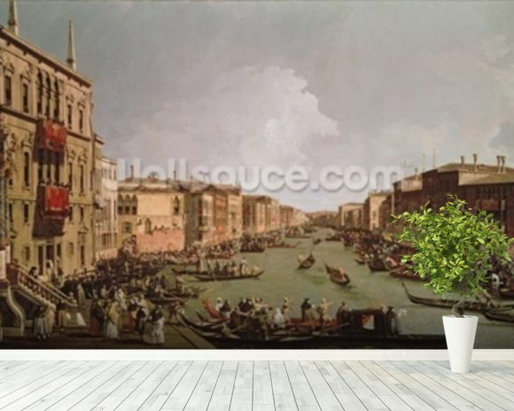 A Regatta on the Grand Canal, c.1735 (oil on canvas) wallpaper mural room setting