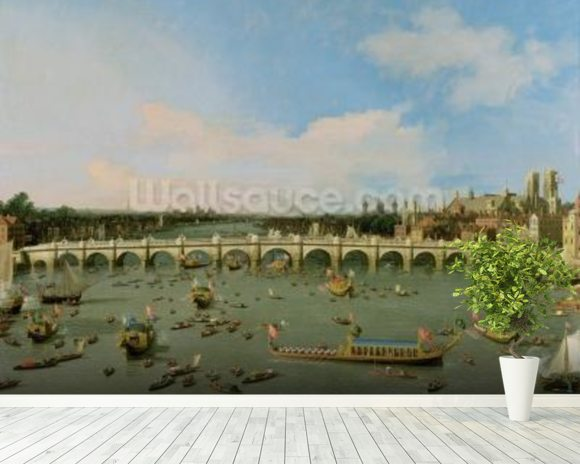 Westminster Bridge, London, With the Lord Mayors Procession on the Thames (oil on canvas) mural wallpaper room setting