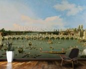 Westminster Bridge, London, With the Lord Mayors Procession on the Thames (oil on canvas) mural wallpaper kitchen preview
