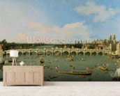 Westminster Bridge, London, With the Lord Mayors Procession on the Thames (oil on canvas) mural wallpaper living room preview