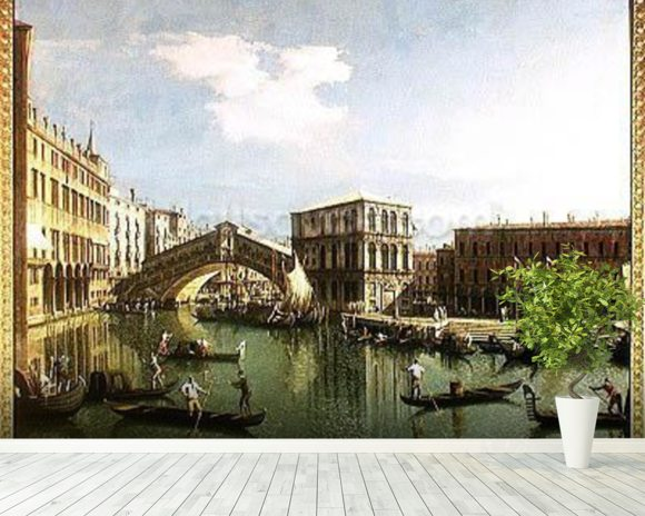 The Rialto Bridge, Venice (oil on canvas) wall mural room setting