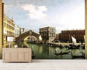 The Rialto Bridge, Venice (oil on canvas) wall mural living room preview