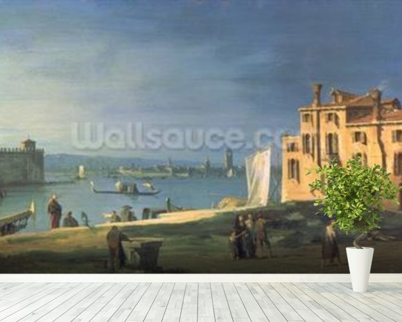 View of Venice (oil on canvas) wallpaper mural room setting
