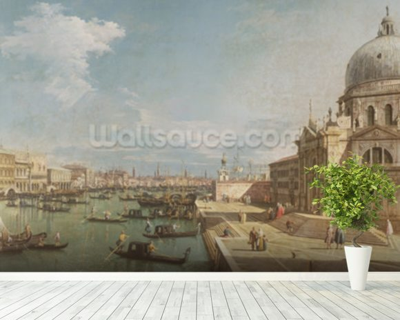 The Entrance to the Grand Canal and the church of Santa Maria della Salute, Venice (oil on canvas) mural wallpaper room setting