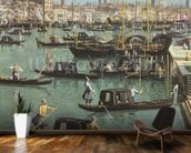 Gondoliers near the Entrance to the Grand Canal and the church of Santa Maria della Salute, Venice (oil on canvas) (detail of 156534) wall mural kitchen preview