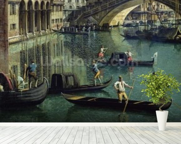 Gondoliers near the Rialto Bridge, Venice (oil on canvas) wallpaper mural room setting