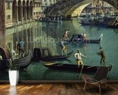Gondoliers near the Rialto Bridge, Venice (oil on canvas) wallpaper mural kitchen preview
