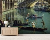 Gondoliers near the Rialto Bridge, Venice (oil on canvas) wallpaper mural living room preview