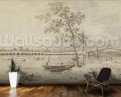 Old Walton Bridge seen from the Middlesex Shore, 1755 (pen & ink with wash on paper) wall mural kitchen preview