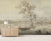 Old Walton Bridge seen from the Middlesex Shore, 1755 (pen & ink with wash on paper) wall mural living room preview