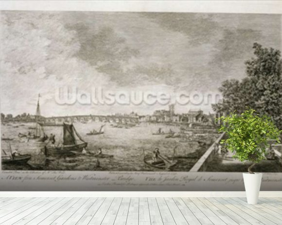A View from Somerset Gardens to Westminster Bridge, engraved by Johann Sebastian Mueller (c.1715-92) 1750 (engraving) (see 111929) wallpaper mural room setting