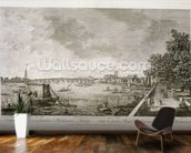 A View from Somerset Gardens to Westminster Bridge, engraved by Johann Sebastian Mueller (c.1715-92) 1750 (engraving) (see 111929) wallpaper mural kitchen preview