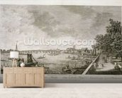 A View from Somerset Gardens to Westminster Bridge, engraved by Johann Sebastian Mueller (c.1715-92) 1750 (engraving) (see 111929) wallpaper mural living room preview